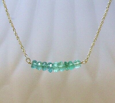 Natural Zambian Emerald Necklace  Solid 14K Yellow Gold Canada 20th Anniversary