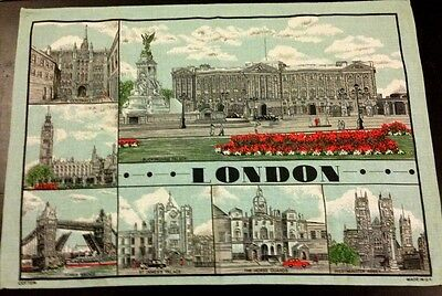 Colourful LONDON Views of London PatternVintage 100% Cotton Tea Towel never used