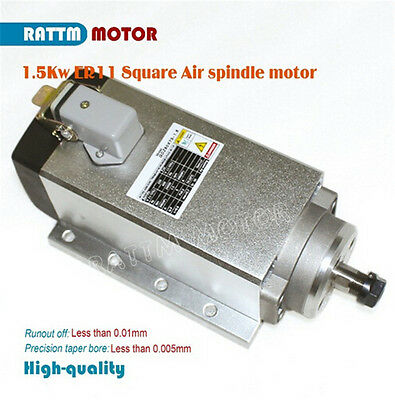 Square 1.5KW Air Cooled Spindle Motor ER11 220V Runout-off 0.01mm for CNC Router