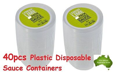 40pcs Plastic Dipping Sauce Disposable Small Container Cups + Lids Takeaway 50ml