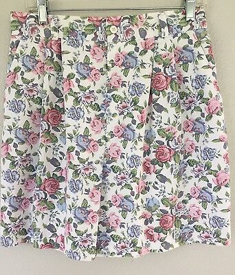 "Vintage Sz 14 High Waist White Pink Blue Pastel Floral Denim Shorts 30"" Waist"