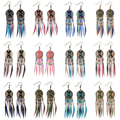 New Bohemian Syle Round Beads And Multicolor Feather Tassel Pendant Earrings