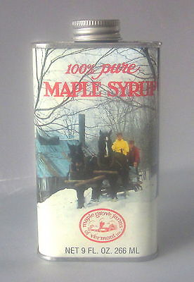 Maple Grove Farms of Vermont Vintage Syrup Tin & Lid 9 oz. 100% Pure USA