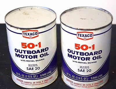 2 X Vintage NOS 1960s Texaco Outboard Motor Oil Advertising Cans Tins #4