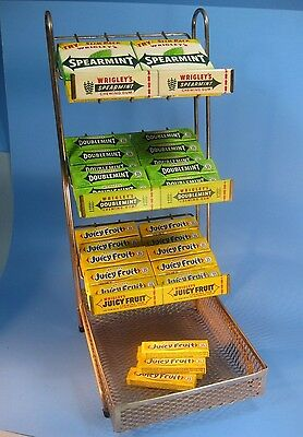 Vintage Chrome Wrigley's Chewing Gum Store Counter Display Rack Old Gum Packages
