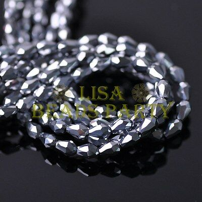 New 100pcs 5X3mm Teardrop Crystal Glass Faceted Spacer Loose Beads Silver