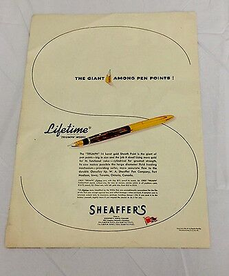 1944 Vintage Sheaffer's Pen Advertisement Full Color Life Magazine Print Ad