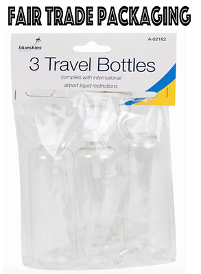 Set of 3x Plastic Travel Bottles Screw Cap Soap Shower Gels Dispenser Airport