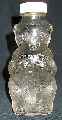 Vintage Snow Crest Strawberry Syrup Glass Bear Bottle Bank With Lid