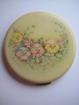 Vintage Rex Fifth Avenue Celluloid Compact Pansies