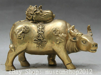 """6"""" Chinese Fengshui Brass Wealth Zodiac Year Bull Oxen Cabbage Statue Sculpture"""
