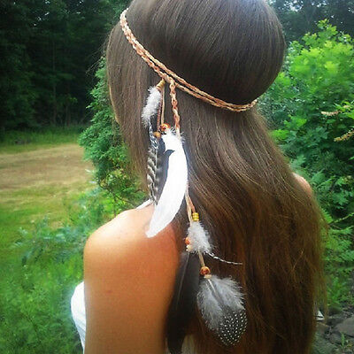Boho Indian Feather Headband Headdress Tribal Hair Rope Headpieces Hippie Party
