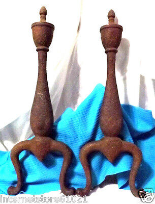 """Andirons Vintage Set Cast Iron 20"""" Fireplace Andirons Antique  Marked """"49-20"""""""