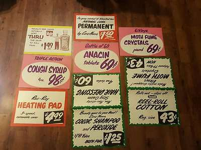 8- 1950's 1960's Rexall store paper display ads signs. Pain killer.