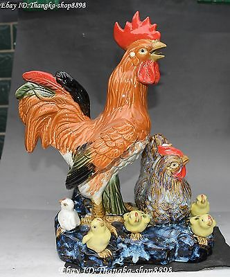 "11"" Fine Chinese Wucai Porcelain Zodiac Chicken Rooster Chick Kid Animal Statue"