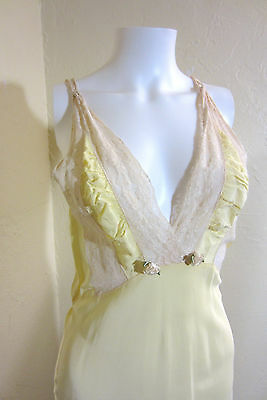 """REDUCED! 1930's 40s BIAS Cut Yellow Silk Creme Lace """"Miss Ritz"""" Nightgown Dress"""