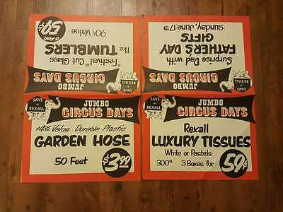 1950's 1960's Rexall Jumbo Circus Days paper store display sign ad. Elephant