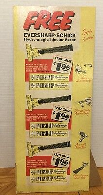 "Eversharp Schick Hydro Magic Injector Blades Vintage Display 6""x16"" Advertising"