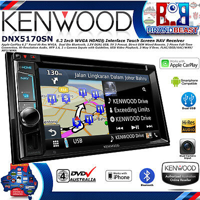 "Kenwood Dnx5170s 6.2"" Dvd Navigation Apple Car Play Dual Bluetooth & Usb Hi-res"
