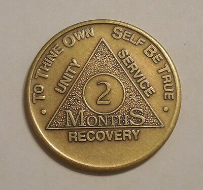 aa bronze alcoholics anonymous 2 month recovery sobriety coin token medallion