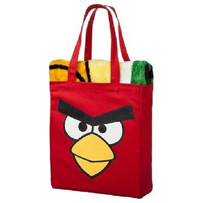 Angry Birds Throw Blanket 40 x 50 Red Bird Canvas Tote Bag Gift Set Rovio NWT