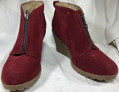 Ladies Riversoft Red Synthetic Suede Zip Front Wedge Ankle Boots Size 9 (Eu 40)
