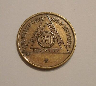 aa bronze alcoholics anonymous 17 year sobriety chip coin token medallion
