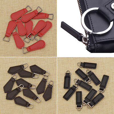 10 Pcs PU Leather Zipper Tags Fixer Pull Tab Replacement DIY Wallet Purse Bag