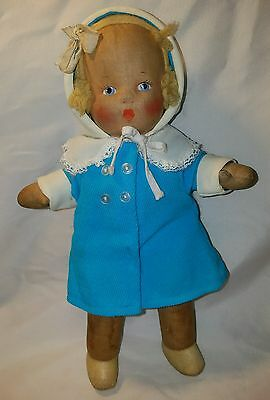 Antique Fabric doll with painted face 13""