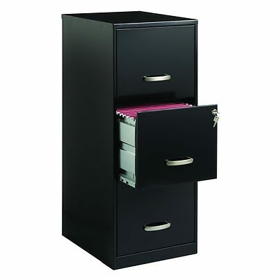 Office 3 Drawer Black Steel File Cabinet Commercial Heavy Duty Filing Vertical