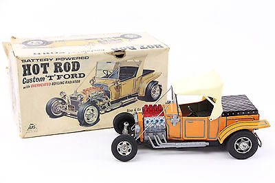 ALPS HOT ROD CUSTOM FORD MODEL T 1960's BATTERY OPERATED TIN TOY W/ BOX VINTAGE