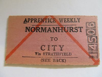 NSWGR Apprentice Weekly Railway Ticket for Travel from Normanhurst to City