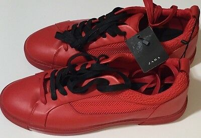NWT ZARA MAN Men's ALL RED LEATHER/RUBBER LOW TOP SNEAKERS Size US 11