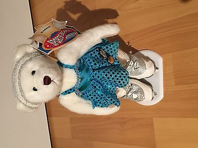 BNWT Figure Skating Bear in Dress and Skates Brass Button Sports Teddy Bear