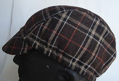 Cycling cap wool  color brown w/ black  lines  one size handmade