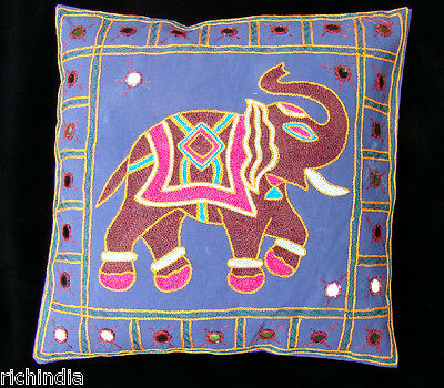 "16"" ELEPHANT EMBROIDERED INDIA CUSHION PILLOW COVER THROW Ethnic Mirror Art"