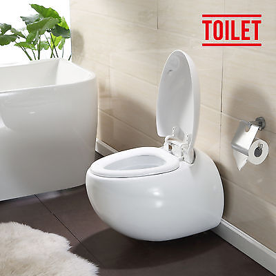 New Stylish Wall Hung White Ceramic WC Toilet Bathroom Soft Close Coupled Pan