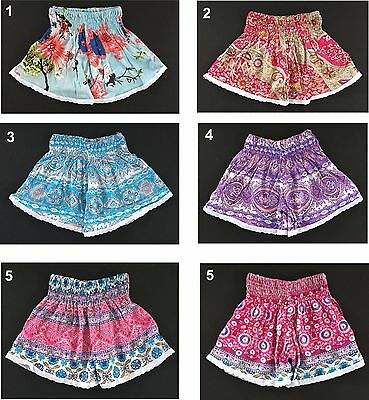 Girls lace trim cotton shorts - Elastic waist - Size  2 3 4 5 6 7