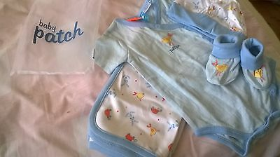 BNWT Pumpkin Patch boys gift bag with wrap, short onesie 3-6mths, booties & Hat