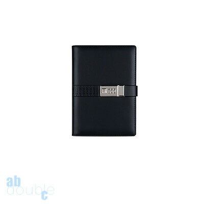 PU A5 Leather Notebook With Code Lock Password Secret Diary Lined Travel Journal