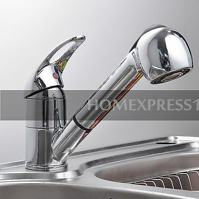 New Pull-Out Spray Faucet Chrome Single Lever Swivel Spout Kitchen Sink Faucet H