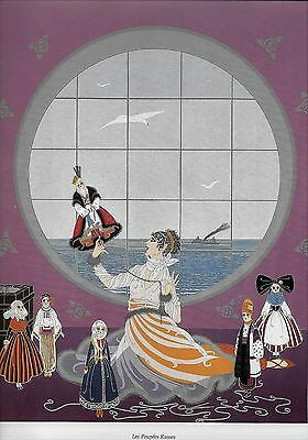 ERTE 1982 Woman Playing DOLLS Russian Clothes  Art Deco Vintage MATTED Picture