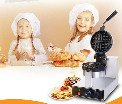 Commercial 1300W Thickened Rotary Non Stick Plates Stainless Steel Waffle Maker*