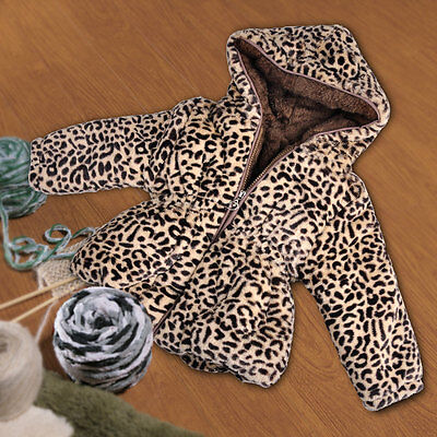 1-6years Kids Baby Girls Winter Warm Leopard Grain Hooded Coat Outerwear Jacket