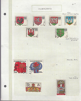 CZECHOSLOVAKIA 1971 Collection On old Album Page VFU Removed for Ship.(r)