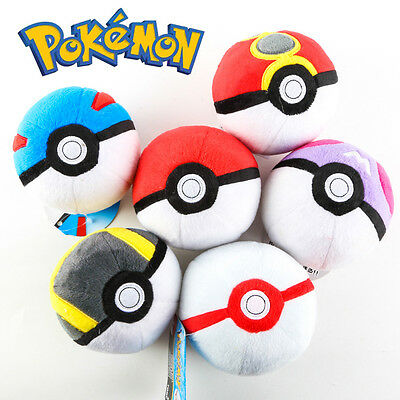 12CM 5Inch Pokemon Pikachu Poke Ball Pokeball Master Plush Toy Kids Gift Toys