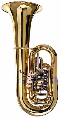 Tuba Wind Instrument Brass Tube 4/4 Bb Tuning Rotary Valves Mouthpiece Case Set