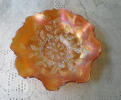 Antique FENTON Marigold Carnival Glass ruffled bowl Holly Leaves & Berries 1900s