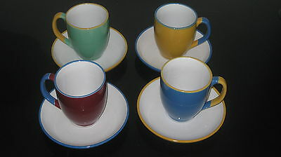 NEW-Retro Set of four coloured mugs and saucers blue/yellow/green and dark red