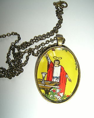 "Tarot Magician Image Antique Gold Plated Pendant On 24"" Chain"